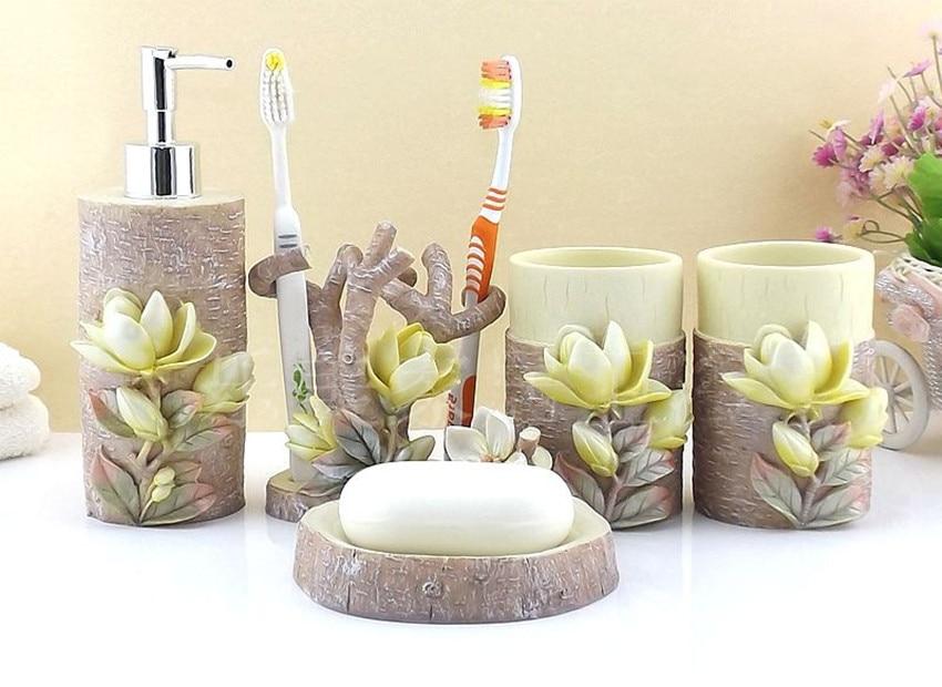 Resin Bathroom Accessories Set 5 Pieces Set 3d Magnolia Bath Room Set Bathroom Decoration Gift Set