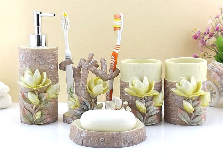 Resin bathroom accessories set five pieces set 3d mognolia for 3d bathroom accessories