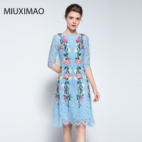 Famous Brand Runaway 2017 Newest Spring Fashion Slim Elegant Ebroidery Rose Flower Vintage Casual Blue Long