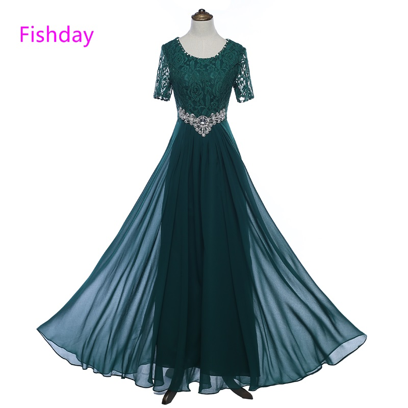 Fishday Long Lace Crystal Evening Dress Elegant Royal Blue Party Formal With Sleeve Abendkleider Robe De Soiree Longue Gown B45