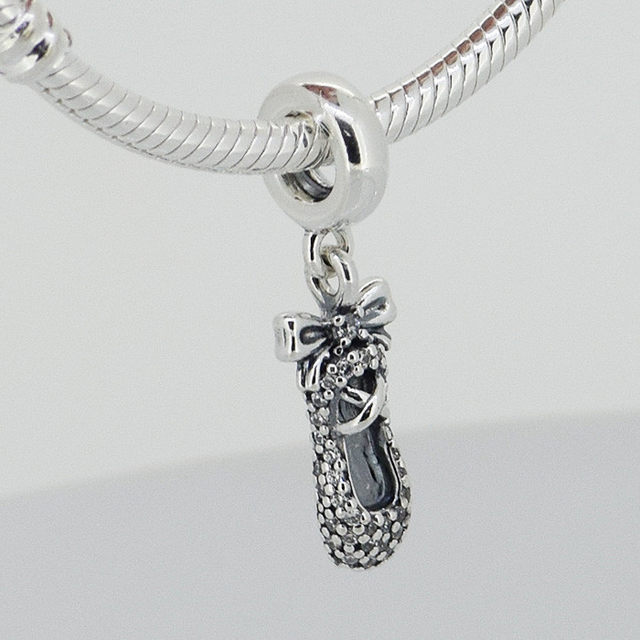 b3d3b1c0e15 ... discount code for fits pandora charms bracelet diy beads ballet slipper  silver dangle with cubic zirconia