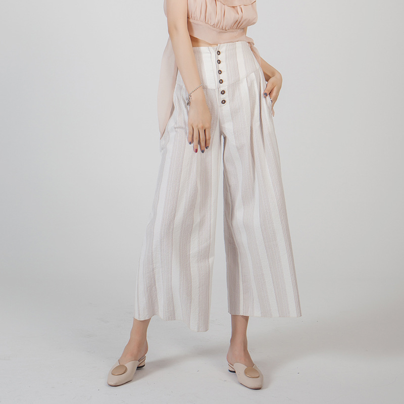 New 2019 Summer Casual Style Women Loose   Wide     Leg     Pants   Soft Cotton Stripe Ankle   Pants   High Waist Trousers Femme