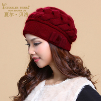 Charles Perra Brand Women Hats Winter Thicken Double Layer Thermal Knitted Hat Elegant Casual Wool Cap