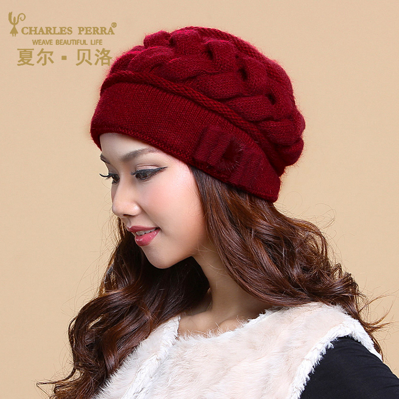 Charles Perra Brand Women Hats Winter Thicken Double Layer Thermal Knitted Hat Elegant Casual Wool Cap   Beanies   Beret 2849
