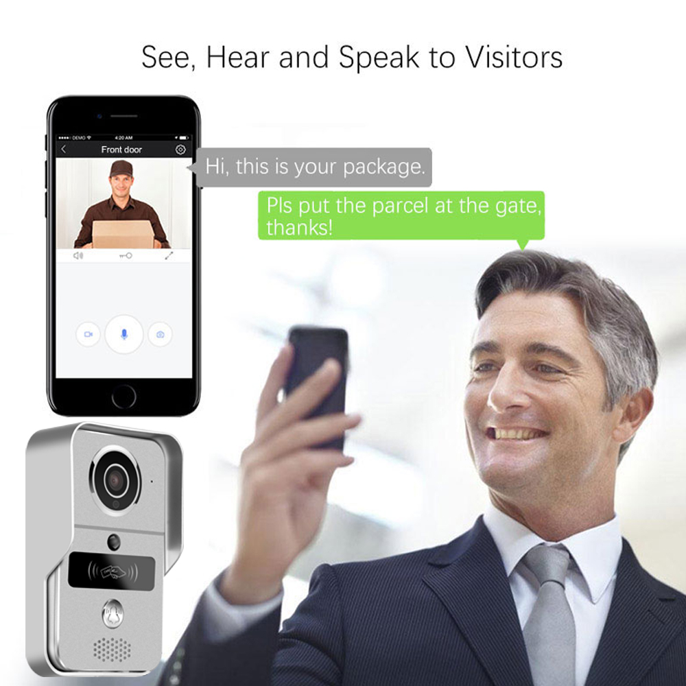 Upgrade Mobile WiFi Wireless Video Door Phone Intercom Doorbell Camera Night Vision Alarm Smart Home Wireless Visual Intercom
