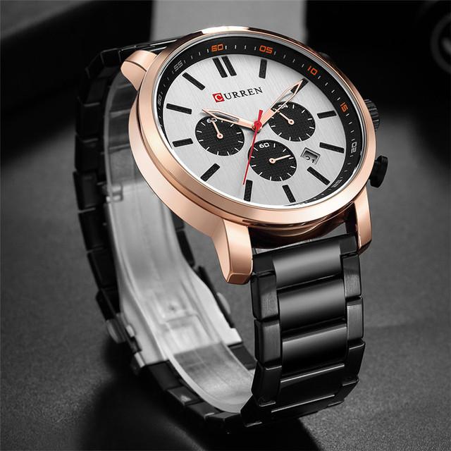 Mens Watches Luxury Brand Steel Wrist Watch 30M Analog Quartz Watches Men Horloge CURREN Men's Fashion Sport Chronograph