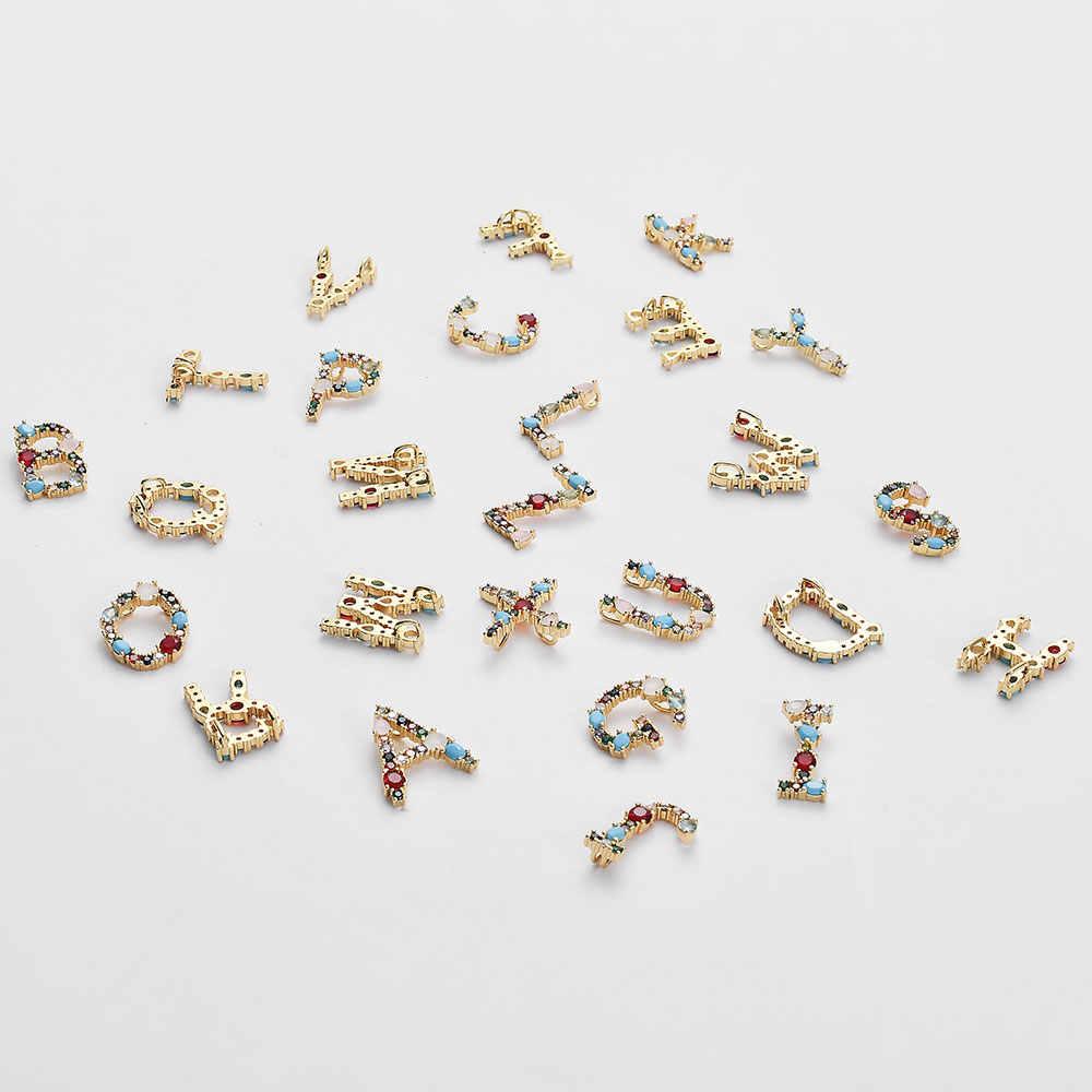 Multicolor Fashion Emas 26 Alphabet Liontin dari A-Z Micro Pave Zirkon Huruf Awal Nama Pasangan DIY Membuat Perhiasan