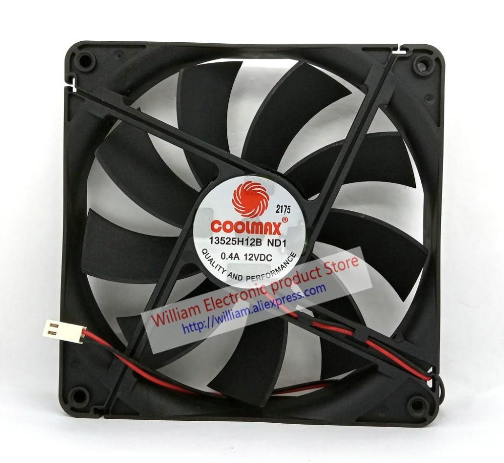 New Original 13525H12B ND1 DC12V 0.40A 135x135x25MM 2Lines Computer Cooling Fan