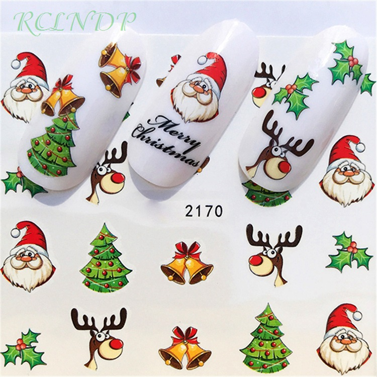 nail sticker art decoration slider merry christmas tree hats adhesive water decals manicure lacquer accessoires polish foil in stickers decals from beauty