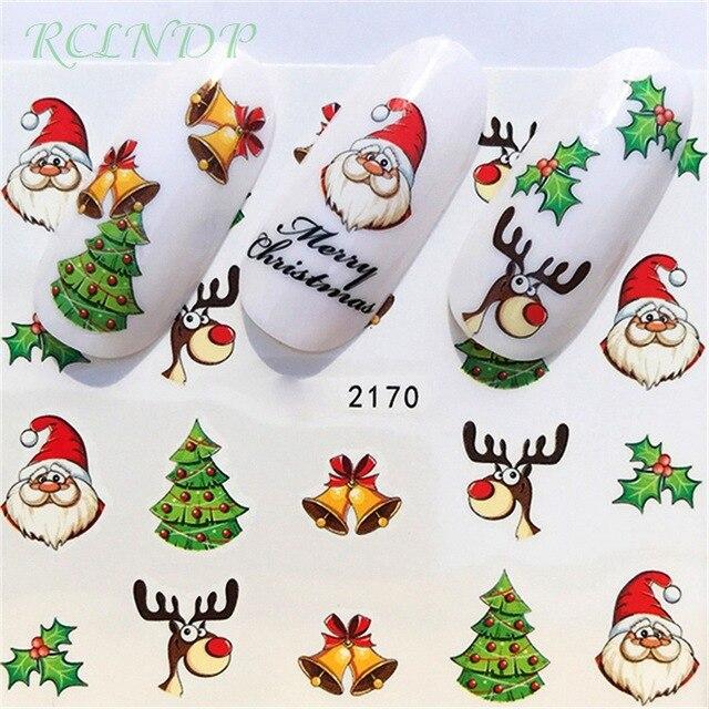 Pegatinas de uñas decoración de arte deslizador feliz árbol de Navidad sombreros adhesivos de agua manicura lacado accesorios de papel de aluminio polaco