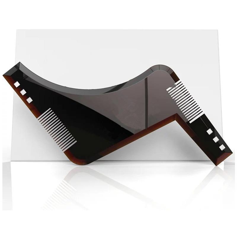 Heißer 1 stücke Hohe Qualität Bart Gestaltung Styling Vorlage PLUS Bart Kamm Alle-In-One Werkzeug ABS Kamm für Haar Bart Trim...