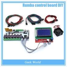 Rumba BIQU placa de controle DIY cooler fan + + display LCD 12864 controlador + jumper + DRV8825 Stepper motorista