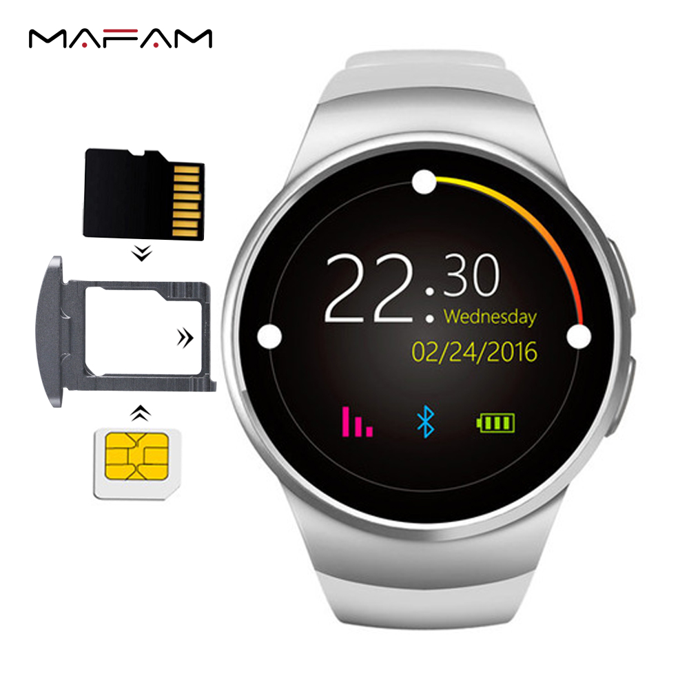 MAFAM KW18 Smart Watch SIM TF Card Smartwatch Phone MP3 Heart Rate Monitor Pedometer Smart Watches For IOS iphone xiaomi Android все цены