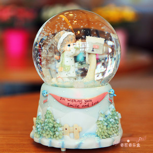 Precious Moments Best Wishes Girl Letter Crystal Ball Music Box Birthday Gift New Year Present Valentines