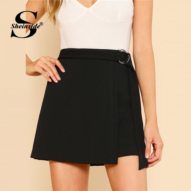 Sheinside Black O-Ring Belt Detail Skirt Solid Mid Waist Sheath Zipper Skirt 2018 Spring ...