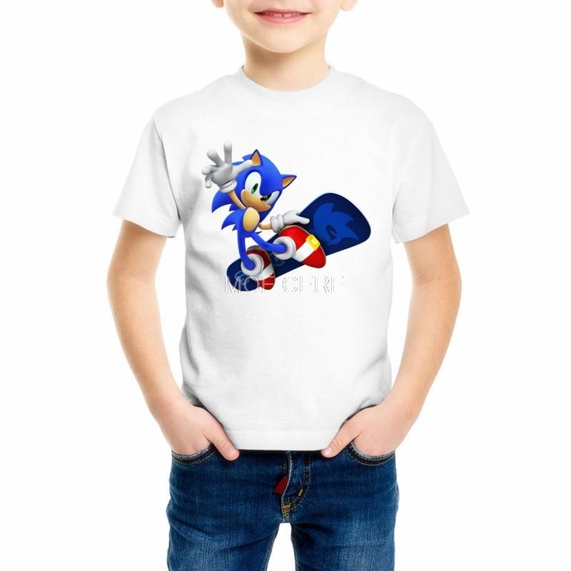 Summer Boys/Girls Sonic Hedgehog Cartoon Printed Funny T-shirts Kids Short Sleeve Tee Children Casual Clothes Z15-1 floral printed raglan sleeve tee
