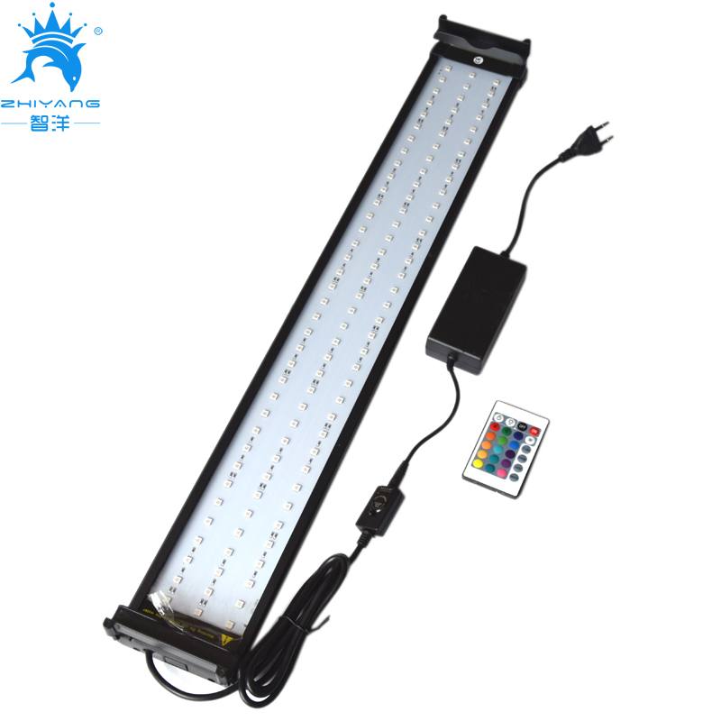 18W 75-95cm Color Changing Aquarium LED Lighting for Fish Tank RGB LED with Extendable Brackets Dimmable Remote Controller