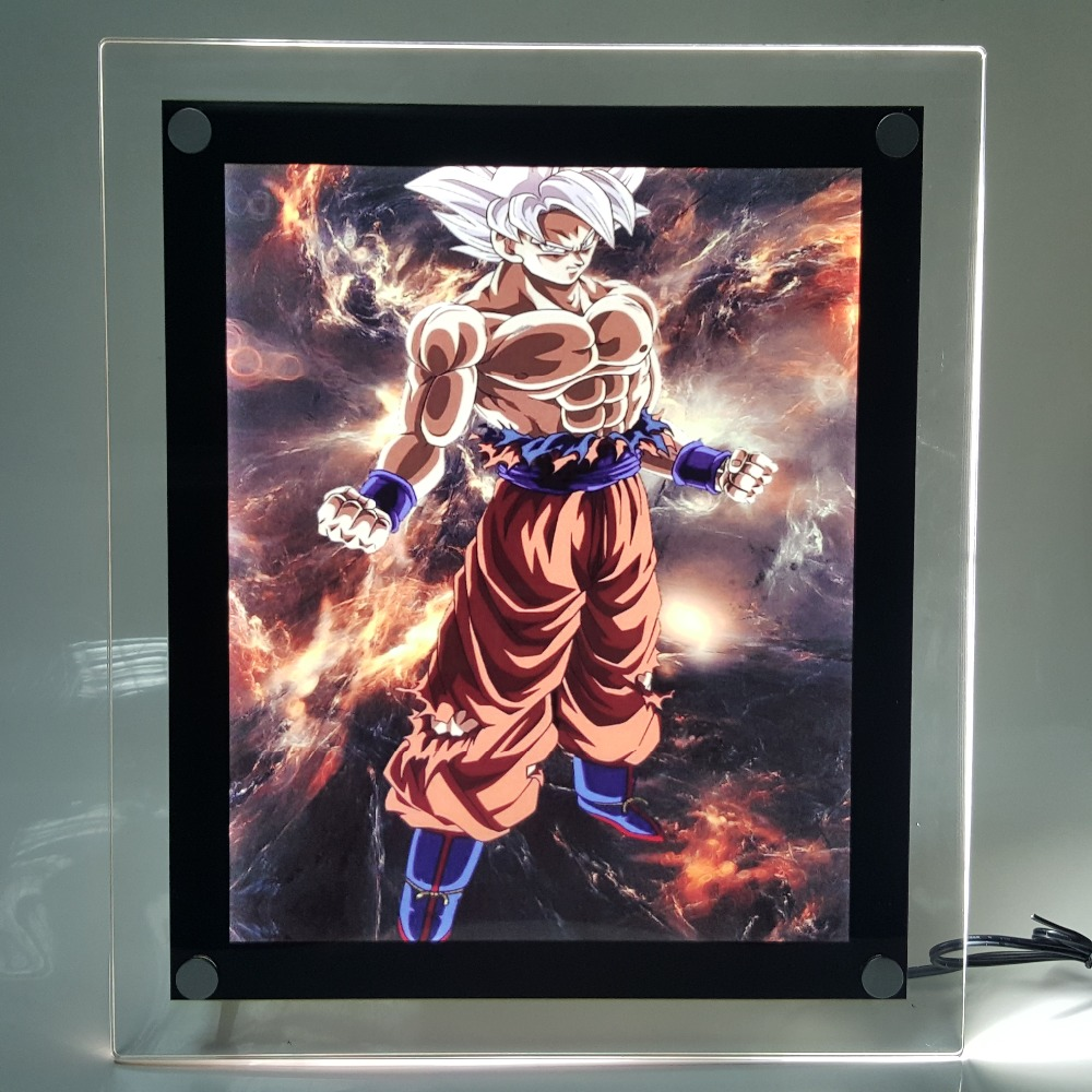 Dragon Ball Z Son Goku Ultra Instinct LED Frame Night Light Dragon Ball Super Goku Lampara Dragon Ball Led For Christmas free shipping imitation pearls chain flatback resin material half pearls chain many styles to choose one roll per lot