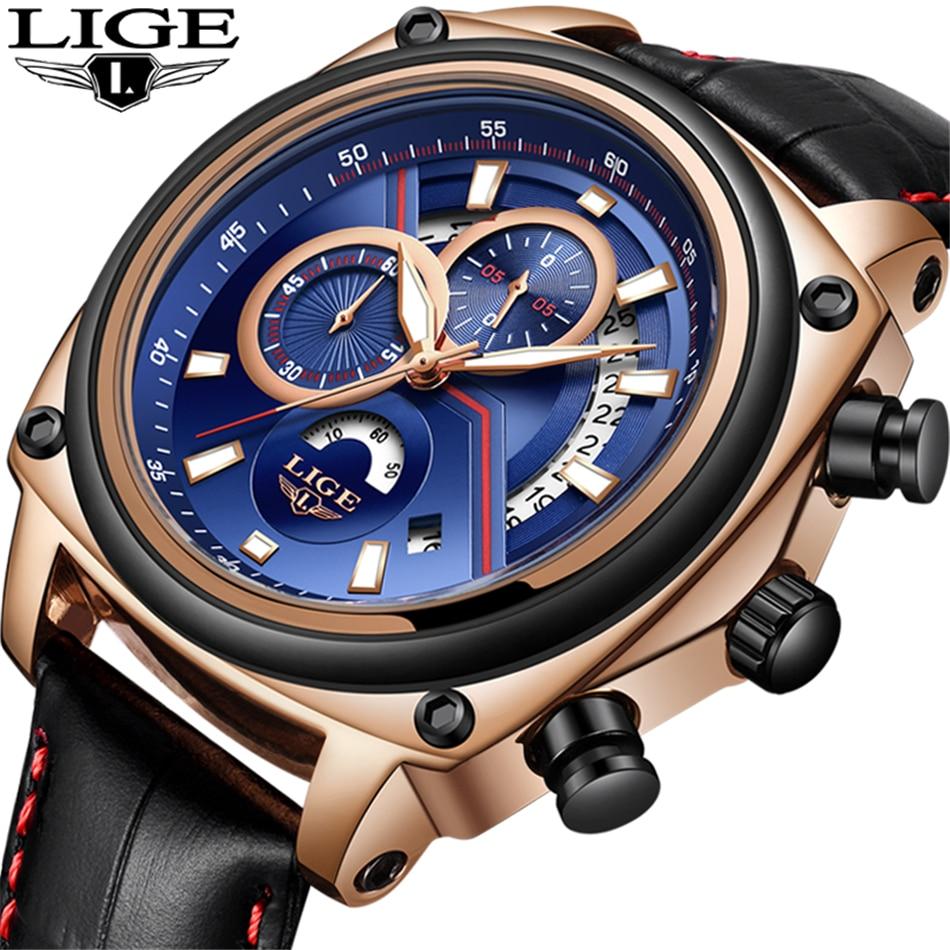 2018 Watch LIGE Men Watch Brand Business Leather Quartz Watch Male Multi-Functional Date Waterproof Sport Watch Men Montre Homme цена и фото