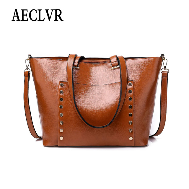 AECLVR Minimalist Solid Color Pu Leather Shoulder Bags Larger Casual Totes Ladies Business Satchels Personality All-Match Bag
