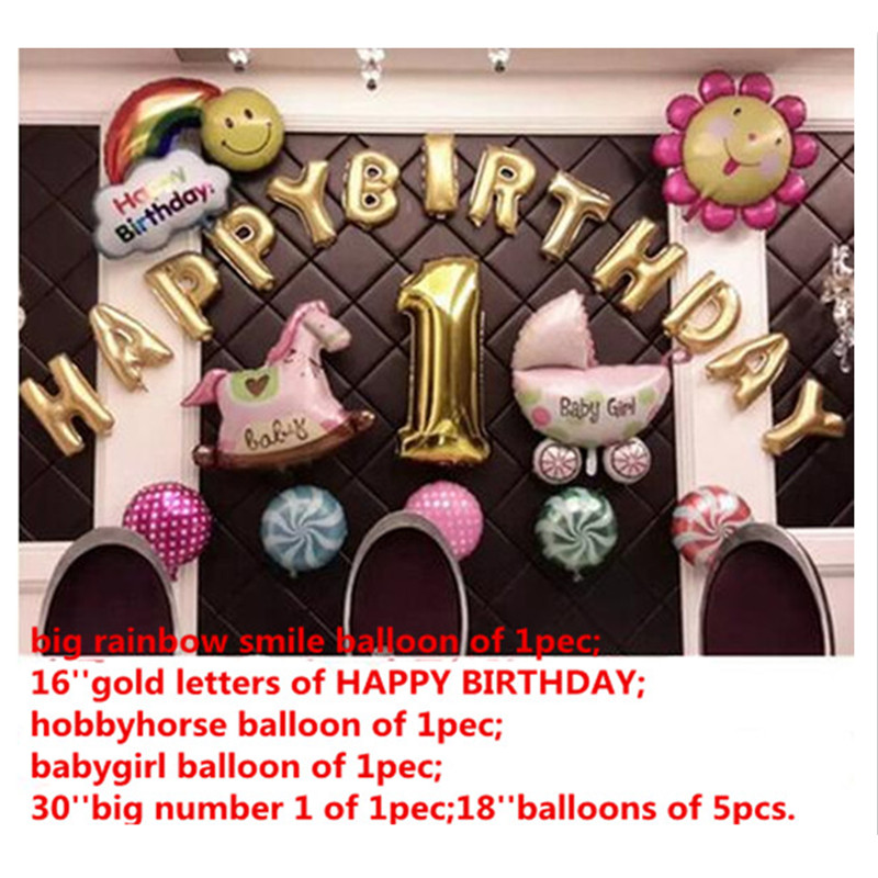 22pcs Happy 1st birthday balloons set,baby girl the 1st birthday pink party deco