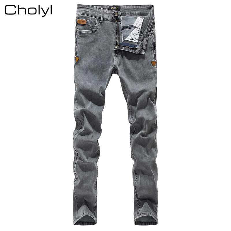 2019 CHOLYL  Men Jeans Grey Slim Skinny Man Biker Jeans with Zippers Designer Stretch Fashion Casual Pants Pencils Trousers