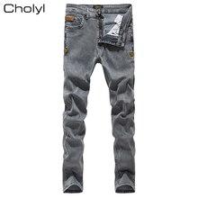 4baaa772d6af6 2019 CHOLYL hombres Jeans Grey Slim Skinny Hombre Vaqueros Biker con  cremalleras de Stretch casuales de moda Pantalones lápices .