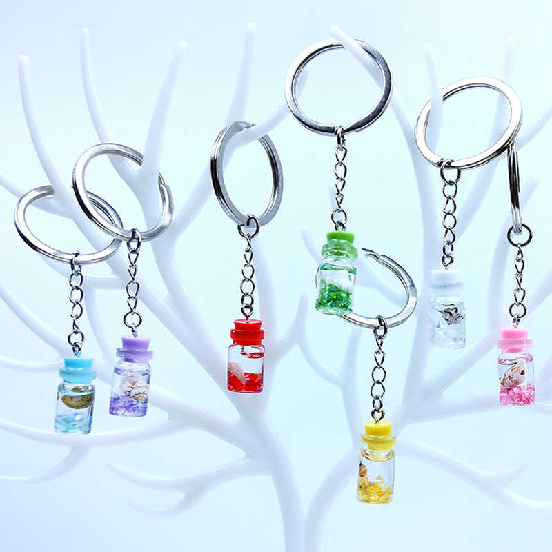 Personality Resin Conch Sand Drift Bottle Keychain Pearl Milk Tea Drink Keyring Women Girl Key Chain Bag Pendant Jewelry Gift