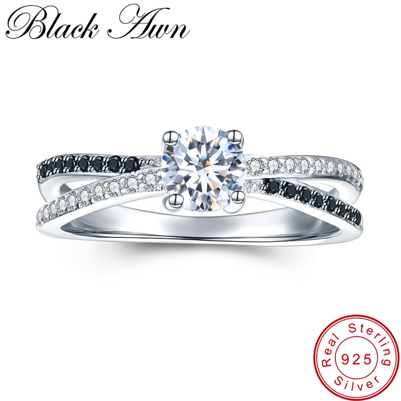 [BLACK AWN] 925 Sterling Silver Jewelry Trendy Wedding Rings For Women Engagement Ring Femme Bijoux Bague C009