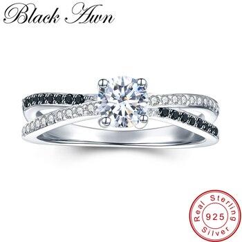 [Negro AWN] joyería de plata de ley 925 anillos de boda de moda para mujeres anillo de compromiso Femme Bijoux Bague C009