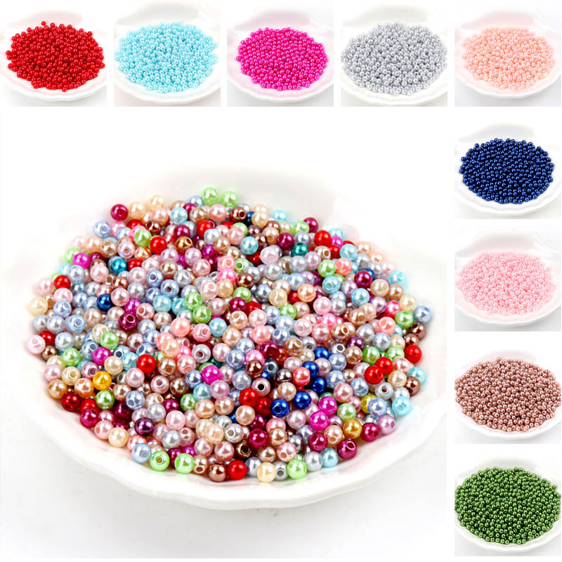 28 color 50-500pcs 4/6/8/10mm Round Imitation ABS Pearl Beads For Craft Scrapbook Decoration DIY Sewing Craft Supplies(China)