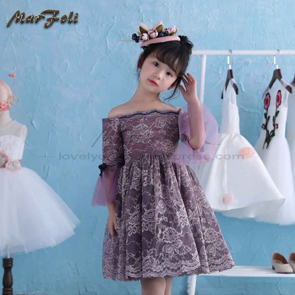 Marfoli purple Girl Party Dress Holiday Princess Dresses lace kids ...