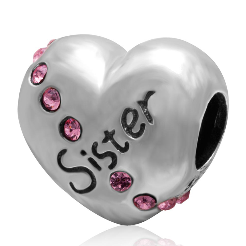 Fit Pandora Bracelets Sister Heart Charms Original 925 sterling silver Beads DIY Jewelry For Women