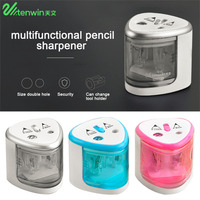TENWIN 3 Color 2 Double Holes Sacapuntas Automatic Electric Pencil Sharpener Home School Office Desktop Students Supplies Pencil Sharpeners
