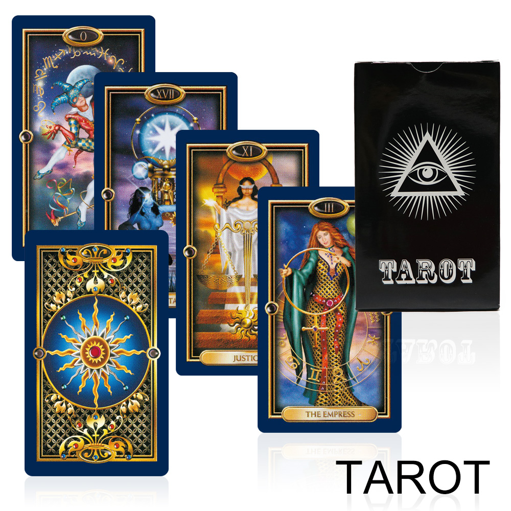 new card game gold tarot cards deck mystery Bright gilded divination fate tarot game for women board game