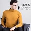 Homens de Alta qualidade Camisola de Gola Alta 100% Jumper de Cashmere Pullovers New Inverno Quente Nobre Padrão de roupas Da Moda Tops para o Sexo Masculino