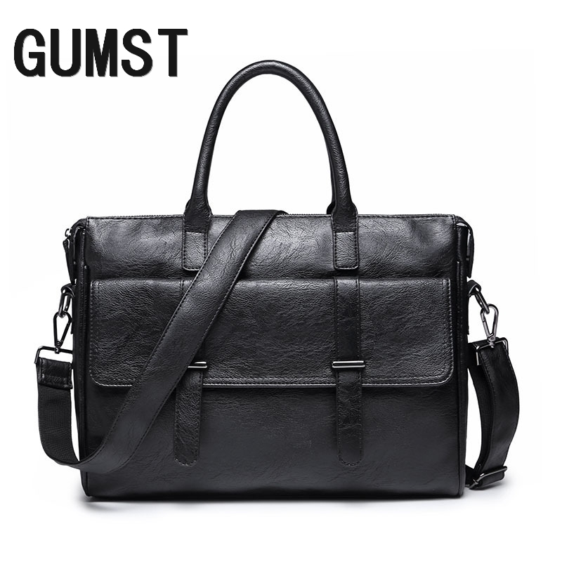 GUMST Brand Men Laptop Bag Briefcase Fashion Men's Business Bags Casual Leather Messenger Bag For Men