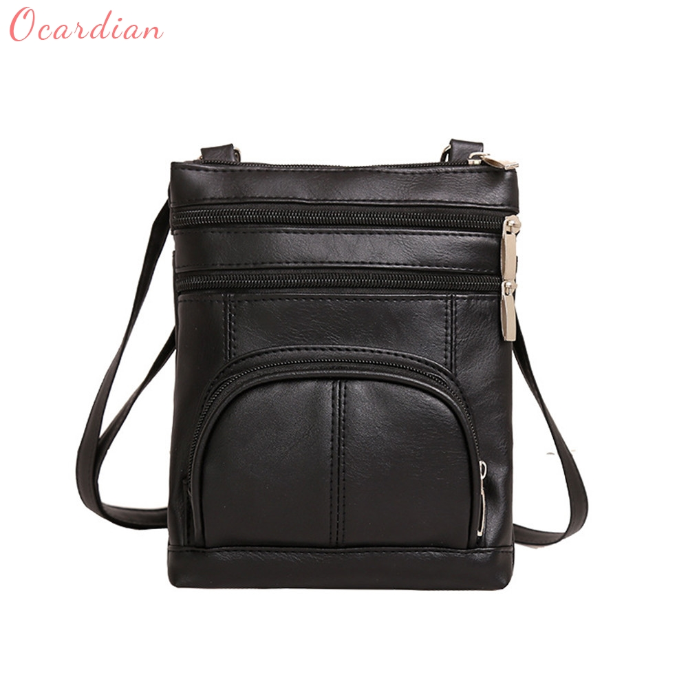 Ocardian 2017 Hot Sale Popular Womens Vintage Leather Zipper Crossbody Shoulder Motorcycle Bag Dropship 170926
