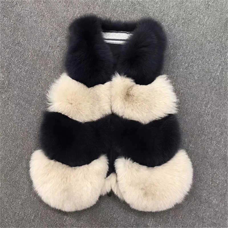 Womens Ladies Chic Waistcoat 100% Real Farm Fox Fur Coat Asian Size M/L/XL Gilet Vest Women Warm Fashion Natural Long Fur Jacket