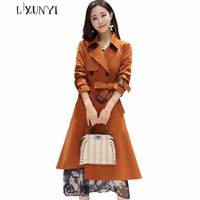 2017 Autumn Winter Elegant Women Trench Coat Korean Double Breasted Splied Hem Ruffles Slim Long Coat