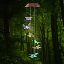 LED Solar Powered Butterfly Wind Chimes Light Color Changing Glass Solar Light Romantic Solar Power Light For Garden Yard