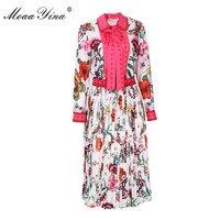 Moaayina дизайнерский комплект весна Для женщин с длинным рукавом с цветочным принтом бабочка ленты Элегантный Рубашка + плиссированные полови...
