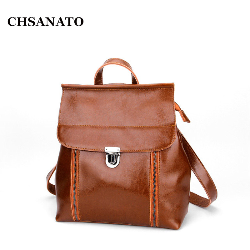 CHSANATO Preppy Style Women Backpack Female Oil Wax Leather Backpack Women Schoolbag For Girls Retro Shoulder Travel Bag 2016 fashion women backpack genuine leather female college wind schoolbag for girls women preppy style ladies travel backpacks