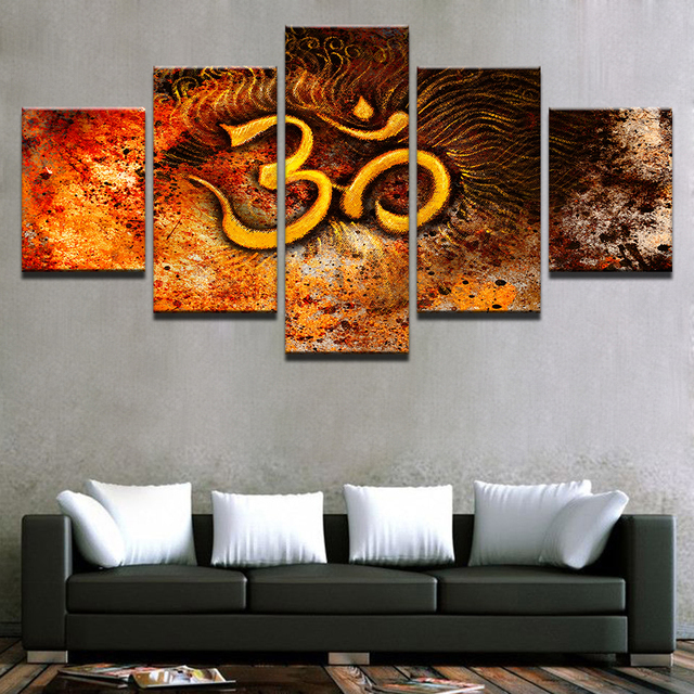 Framed Wall Art For Living Room Decorating Furniture Home Decor Painting Hd Printed 5 Panel Golden Mystical Om Symbol Modular Canvas Pictures Poster