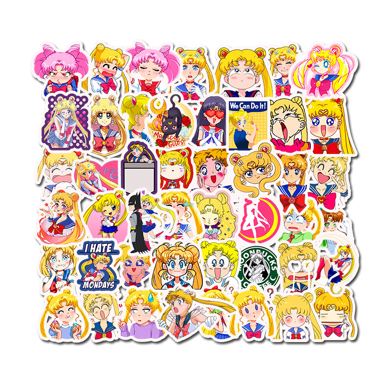 50Pcs Japan Anime Sailor Moon Cute Label Sticker Cartoon Cute Girl Scrapbook Decor PVC Stationery Scrapbooking Toys Stickers