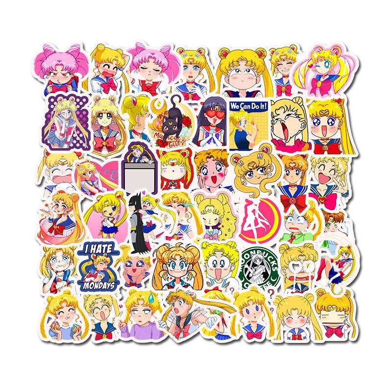 50Pcs Japan Anime Sailor Moon Cute Label Sticker Cartoon Cute Girl Scrapbook Decor PVC Stationery Scrapbooking Toys Stickers