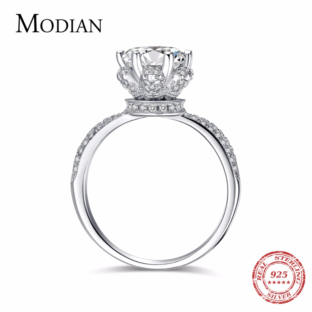 2018 New Fashion Classic Soild 925 ստերլինգ արծաթե հարսանիք Ring CZ ircիրկոն զարդերի երեկույթների ներգրավման ապրանքանիշ Rings կանանց համար Նվեր