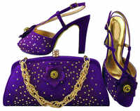 Beautiful purple shoes match bags series with rhinestones flower decoration african shoes and handbag set for dress MM1040