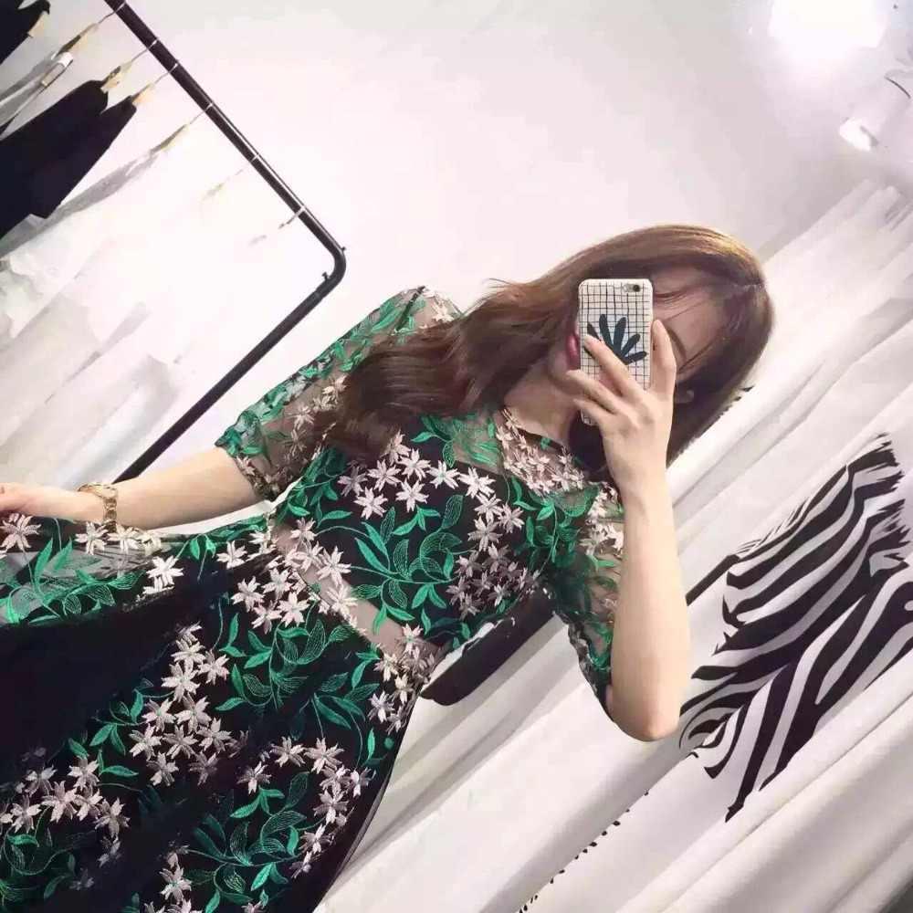 b1edacef115d6 Fashion 2018 Spring Summer Dresses Ladies Retro Green Flowers Embroidery  Sweet Fairy Long Runway Dress Mesh Bohemian Vestidos