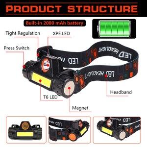 Image 2 - Đèn Pha USB Sạc Đèn LED XPE + COB Đầu Đèn Có Nam Châm Đội Đầu Tích Hợp 18650 Pin Dành Cho Câu Cá, cắm Trại